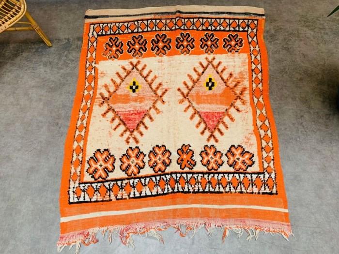 Small Orange Vintage Moroccan Rug