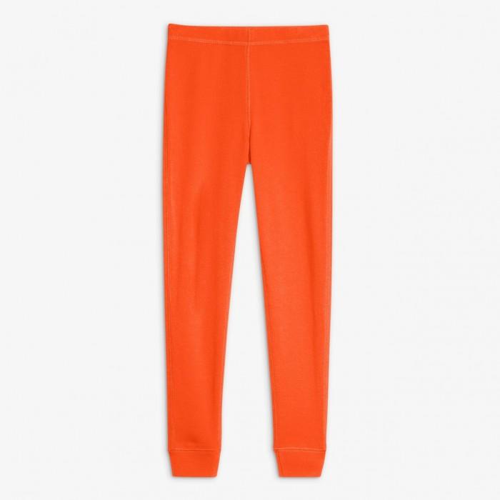 Orange pajama bottoms on white background