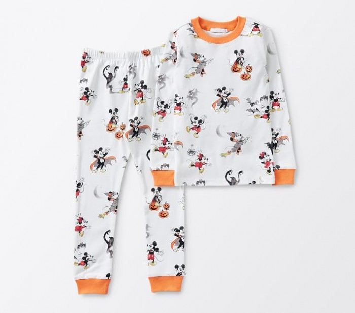 disney mickey and Minnie halloween pajamas on white background