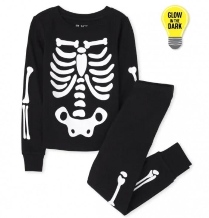 glow in the dark skeleton pajamas on white background