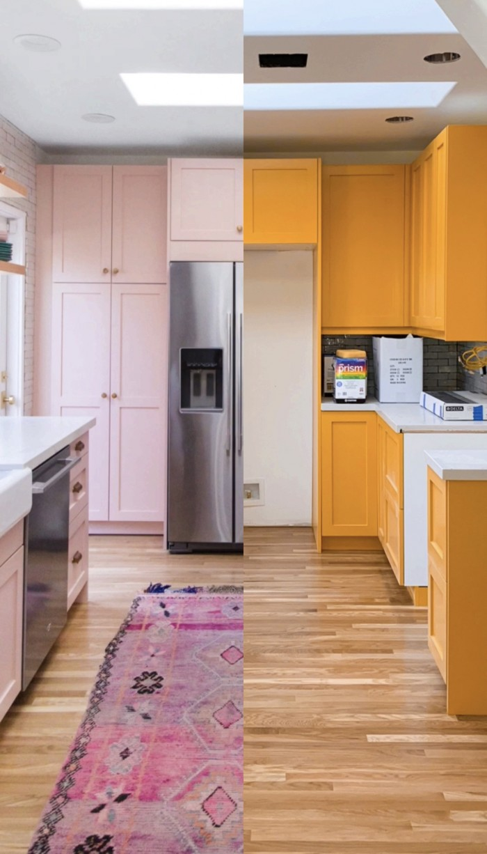"""Half pink kitchen """"after"""" and half yellow kitchen """"before"""""""