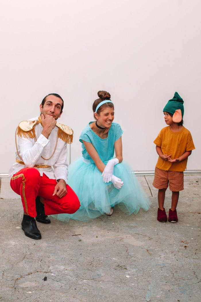 Family in Cinderella, Prince Charming and Gus Gus Halloween Costumes