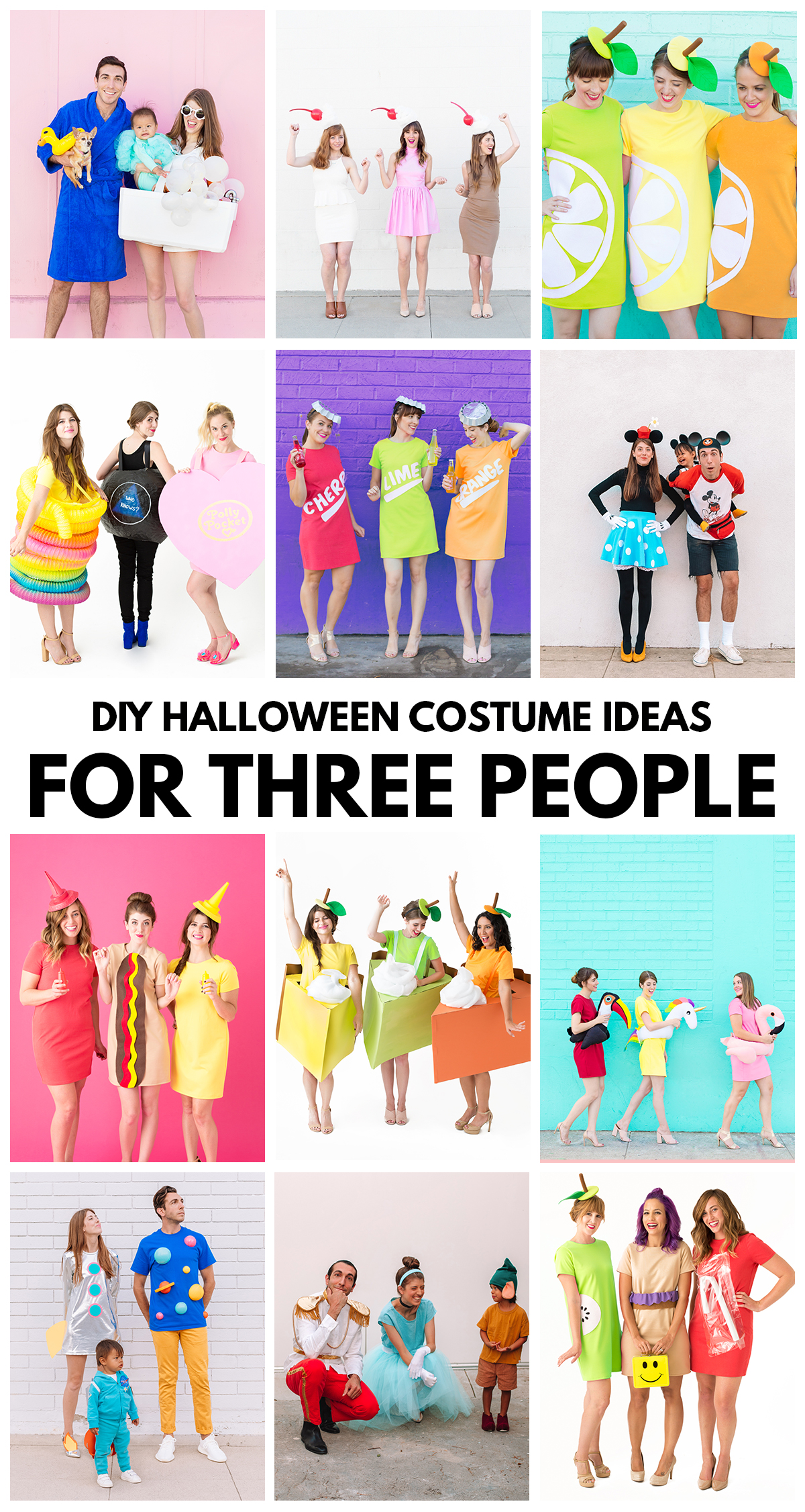Dozens of DIY Halloween costumes ideas perfect for three people, from food themes to pop culture and throwback inspired ones!