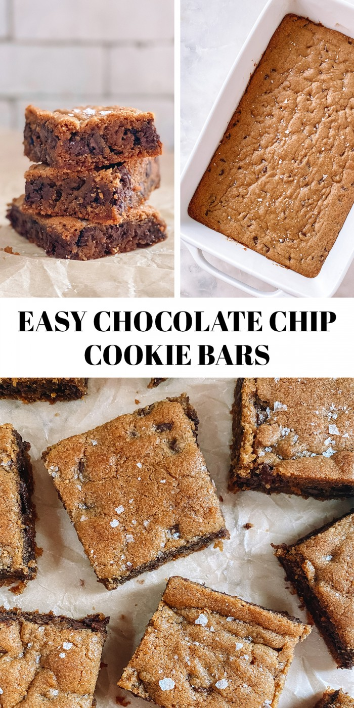 """three photos of chocolate chip bars with text """"easy chocolate chip bars"""""""