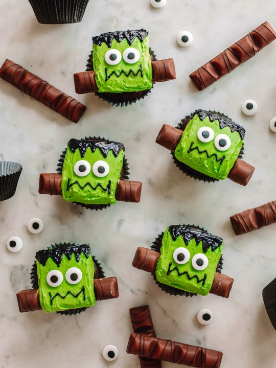 Frankenstein Cupcakes on Marble Table