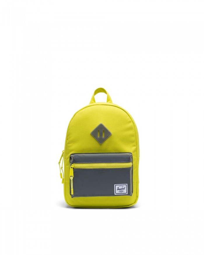 yellow green Herschel backpack on white background