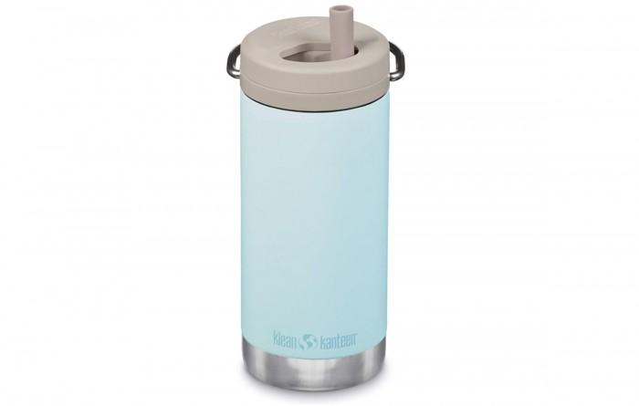 Blue Klean Kanteen Twist Top Water Bottle on white background