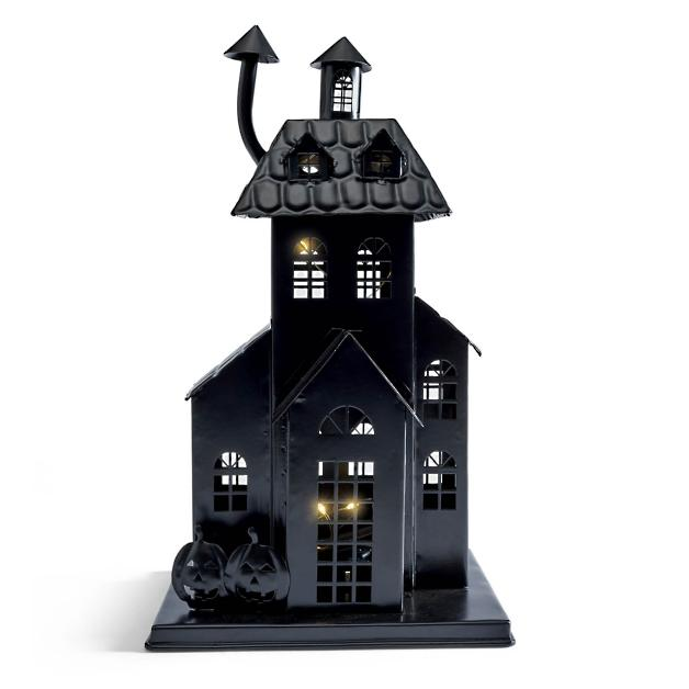Black Haunted House on White Background