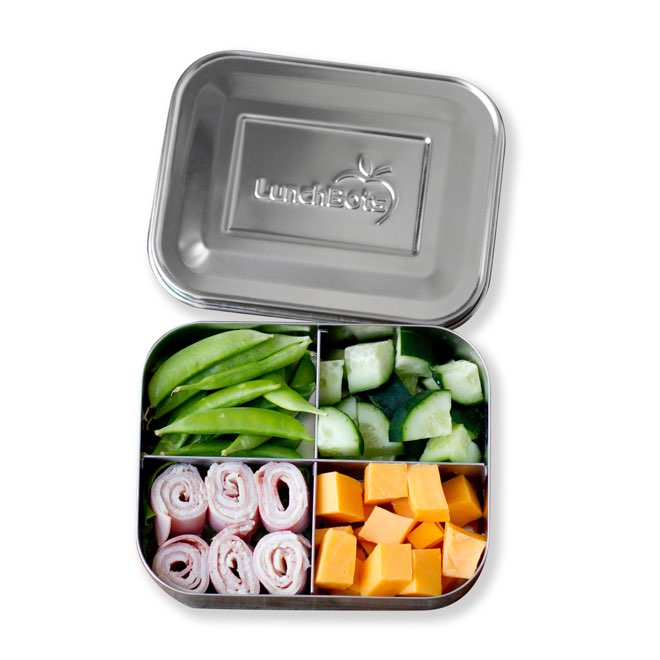 Lunchbot snack box on white background filled with food
