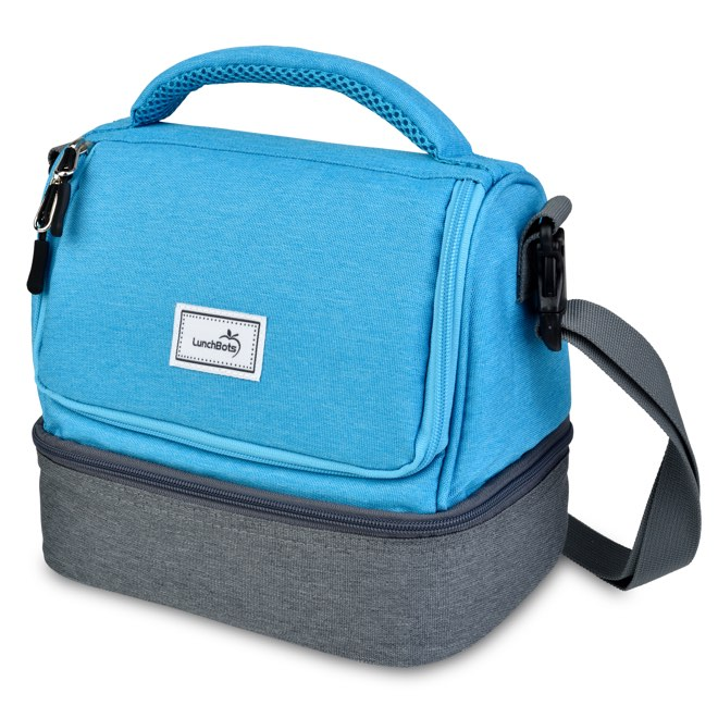 Blue Lunchbots Lunch Bag on a white background
