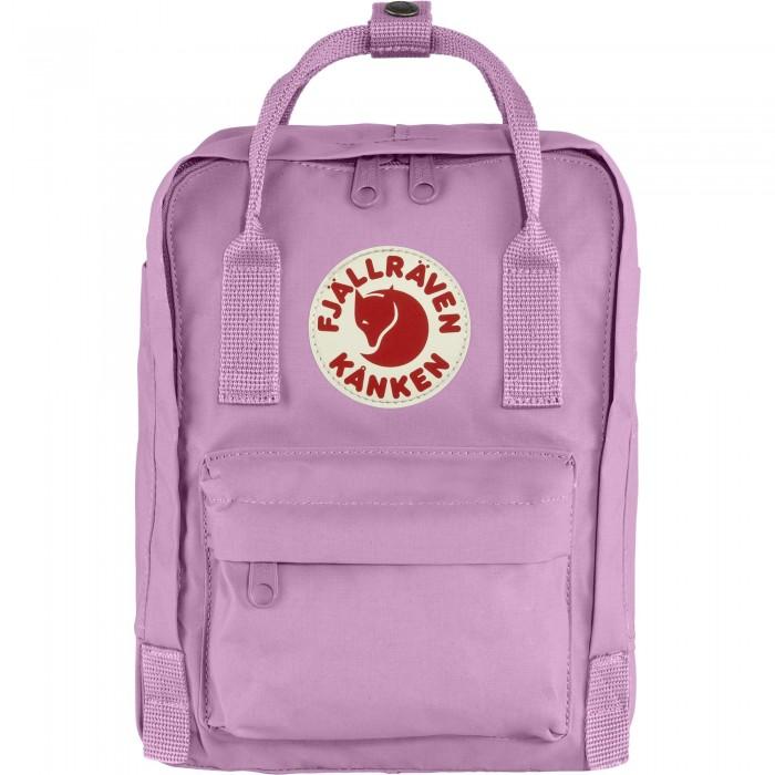Mini purple backpack on white background