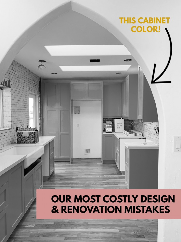 """Black and white image of a kitchen with text overlay """"our most costly design and renovation mistakes"""""""