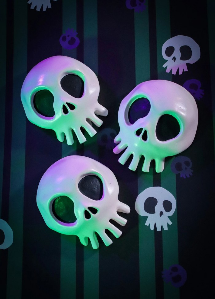 Nightmare Before Christmas Skulls on striped background