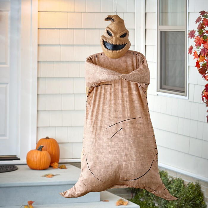Poseable Oogie Boogie Outdoor Decoration on a porch