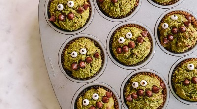 Spinach muffins with monster faces and chocolate chip mouths