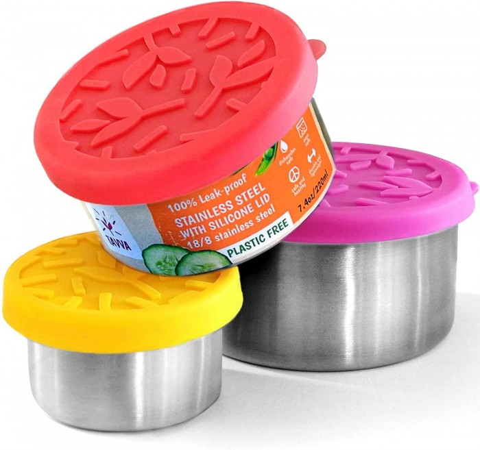 stainless steel snack storage containers with colorful silicone lids