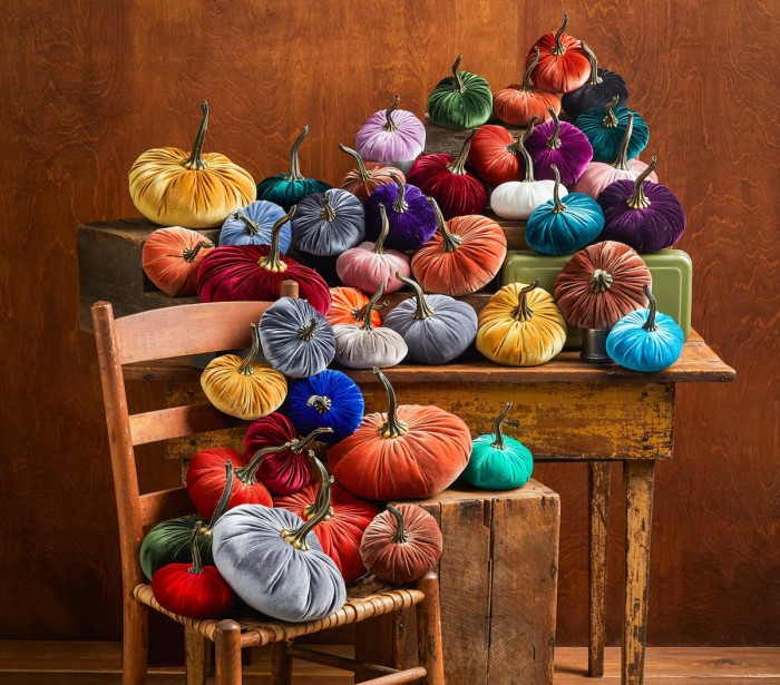 velvet pumpkins in rainbow colors on table and chair