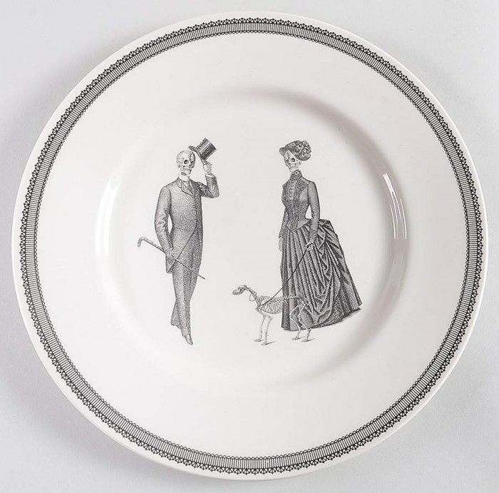 Victorian skeleton plate on a white background