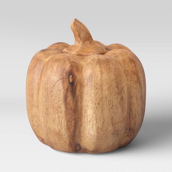 wood pumpkin on white background