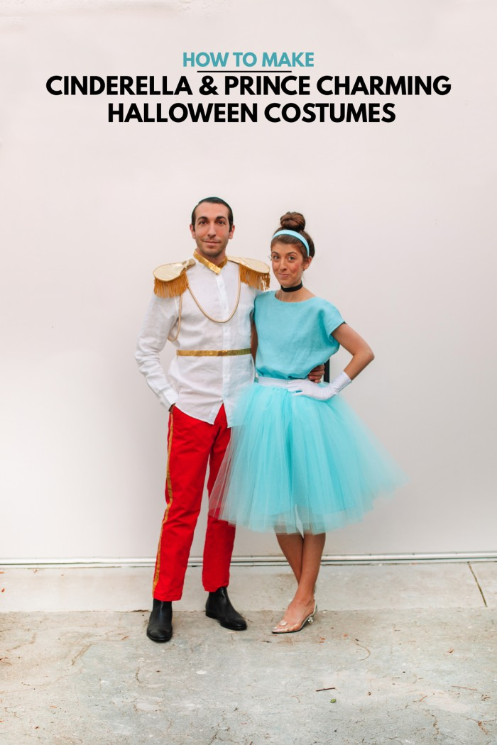 Couple in Cinderella and Prince Charming Halloween costume
