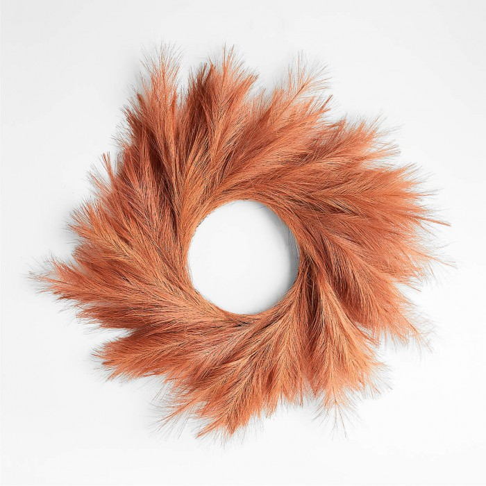 Rust pampas grass wreath on a white background