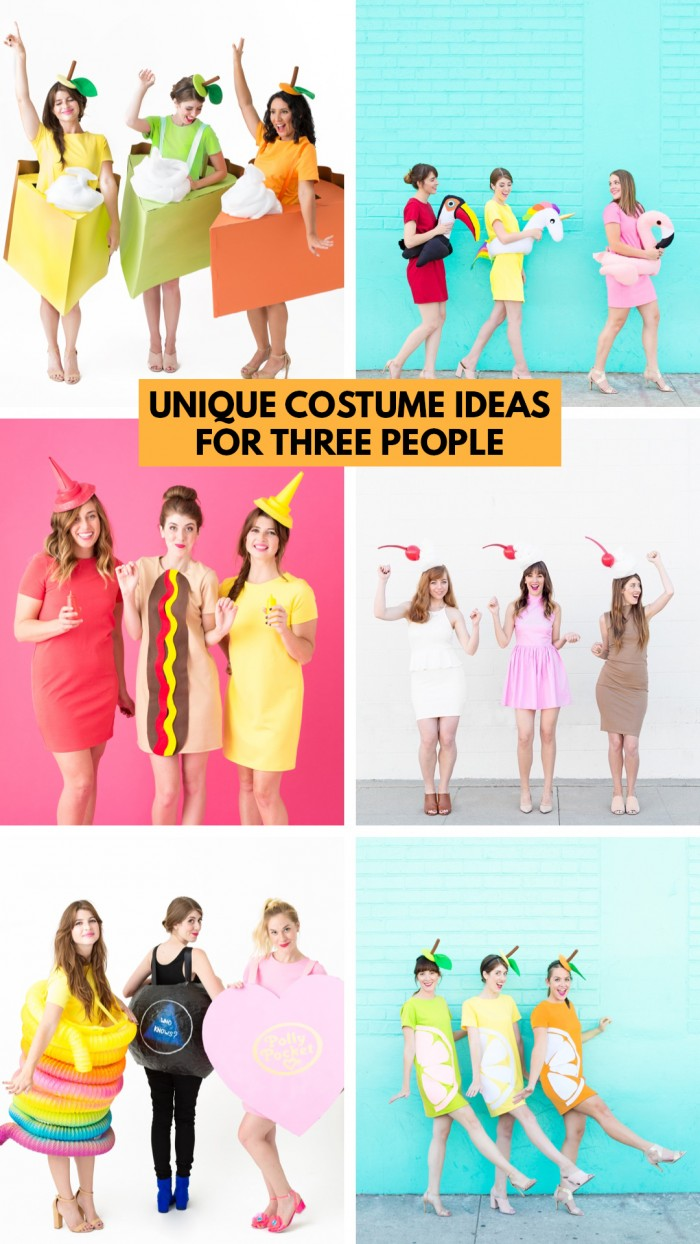 Collage of costumes for three people