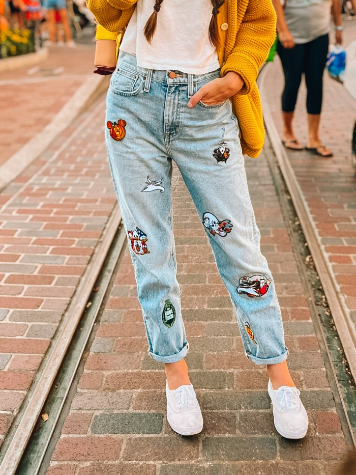 Jeans with Halloween Disney iron-on patches