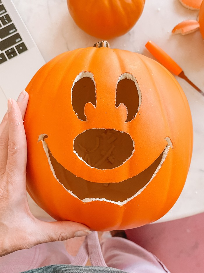 pumpkin with mickey face carved