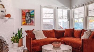 Rust Sofa with Blue Rug in White Living Room